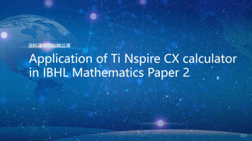 Application of Ti Nspire CX calculator in IBHL Mathematics