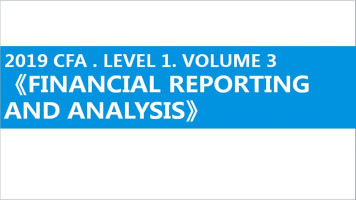 2019. CFA. LEVEL 1  ( FINANCIAL REPORTING AND ANALYSIS)